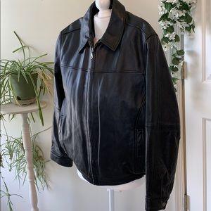Gently used Black leather jacket Size medium